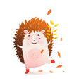 happy hedgehog smiling playing in nature fun child vector image