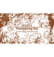 happy thanksgiving card with turkey and pumpkins vector image vector image