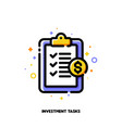 icon clipboard with checklist for investment tasks vector image vector image