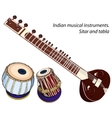 Indian musical instruments - sitar and tabla vector image vector image