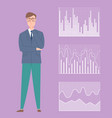 infographics and male businessman with data set vector image