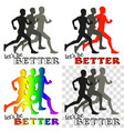 inspiring poster with running people silhouettes vector image