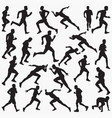 man running silhouettes vector image vector image