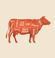 meat cut charts cow butcher shop beef vector image vector image