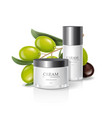 moisturizing cream jar with olive oil vector image vector image
