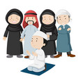 muslim people in tradition outfit vector image