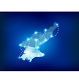 North Korea country map polygonal with spot lights vector image vector image