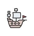 old ship sailing vessel pirates transport flat vector image