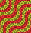 Retro 3D red green waves and donates vector image vector image