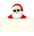 santa with sunglasses holding piece of paper vector image vector image