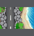 seaside road top view vector image vector image