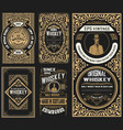 set of 5 old labels western style vector image vector image