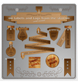 Signs and tags from the skin and wood vector image vector image
