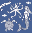 Sketch Marine set with mermaid vector image vector image