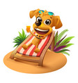 summer beach vacation yellow dog lies on vector image vector image