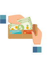 taking cash out from wallet vector image vector image