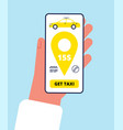 taxi order online smartphone app hand holding vector image vector image