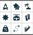 tourism icons set with ski cabin flip flops star vector image
