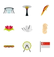Tourism in Singapore icons set flat style vector image vector image