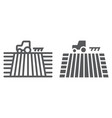 tractor on field line and glyph icon farming vector image vector image