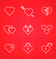 valentines day set outline icons vector image