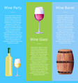 wine party poster with bottle white alcohol drink vector image