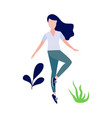 woman doing stretch exercise vector image vector image