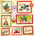 Collection of christmas post stamps vector image