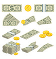 money icons set in cartoon style vector image