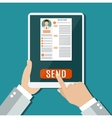 Business man hold tablet with resume vector image