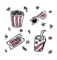 Set of doodle cinema icons vector image