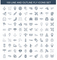 100 fly icons vector image vector image