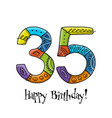 35th anniversary celebration greeting card vector image vector image