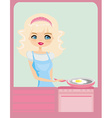 Beautiful lady cooking egg in the kitchen vector image