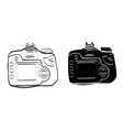 black and white vintage camera icon art vector image