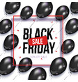 black friday sale banner flyer with balloons vector image vector image