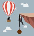 Businessman in hot air balloon fly pass vector image