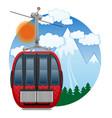 cabin ski cableway emblem vector image vector image