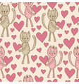 cats with hearts seamless pattern vector image vector image