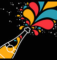 champagne party bottle splash in outline style vector image vector image