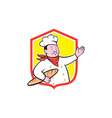 Chef Cook Holding Baguette Shield Cartoon vector image vector image
