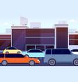 city road traffic jam cartoon cars street vector image vector image