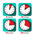 clock icon stopwatch set five ten fifteen and vector image vector image