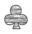 clubs wooden symbol sketch vector image