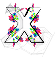 Colorful Font - Letter x vector image vector image