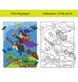 coloring with colored example halloween witch on vector image vector image