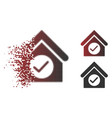 destructed pixelated halftone check building icon vector image vector image