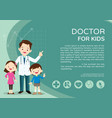 doctor and kids background poster vector image vector image