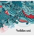 Doodle floral card design vector image