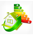 Energy efficiency rating with arrows and house vector image vector image